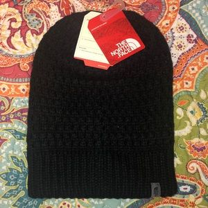 The North Face black beanie hat